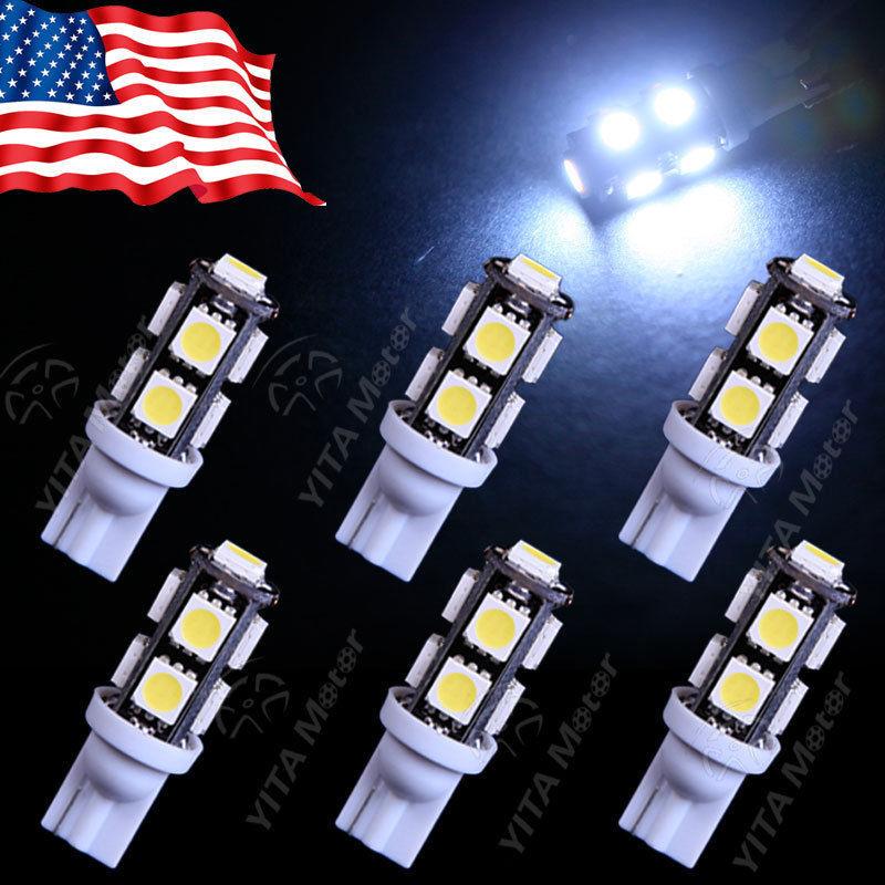 6PCS Super White T10 9-SMD Wedge 5050 LED Light Bulbs 192 168 194 W5W 2825 158 Corner/Side Marker Light/Tail/Backup Lights -B(China (Mainland))