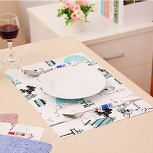 1Pc European Style Printing Waterproof Linen Placemat Bowl Pad Dining Table Mat Heat Insulation Pads Slip-Resistant Mat CF0194(China (Mainland))