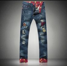 2016 Men Distressed Jeans Hip Hop Flanging Denim Trousers Men Plus Size Jean Joggers Male Pants Casual Trousers 28-46(China (Mainland))