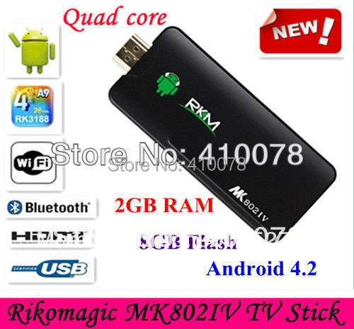 Google TV Rikomagic MK802IV Quad core Rockchip RK3188 Android 4.4.2 TV Stick Box Mini PC 2G DDR3 8G ROM Bluetooth HDMI[MK802 IV]
