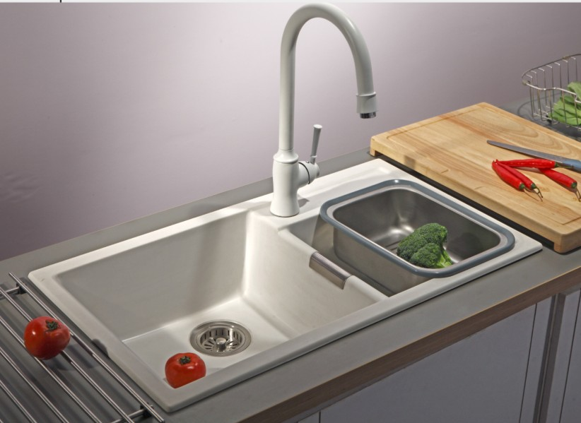 Artificial stone kitchen sink granite basin white pearl quartz stone kitchen sink high quality(China (Mainland))