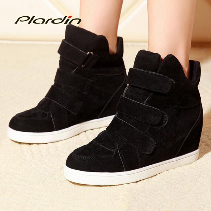 2014 women's shoes nubuck leather velcro elevator canvas platform high-top shoes women sneakers free shipping