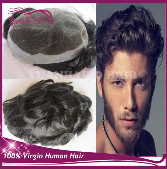 Best Quality! 6inch #1b short peruvian remy hair natural wave 7X10 toupees for men Free Shipping