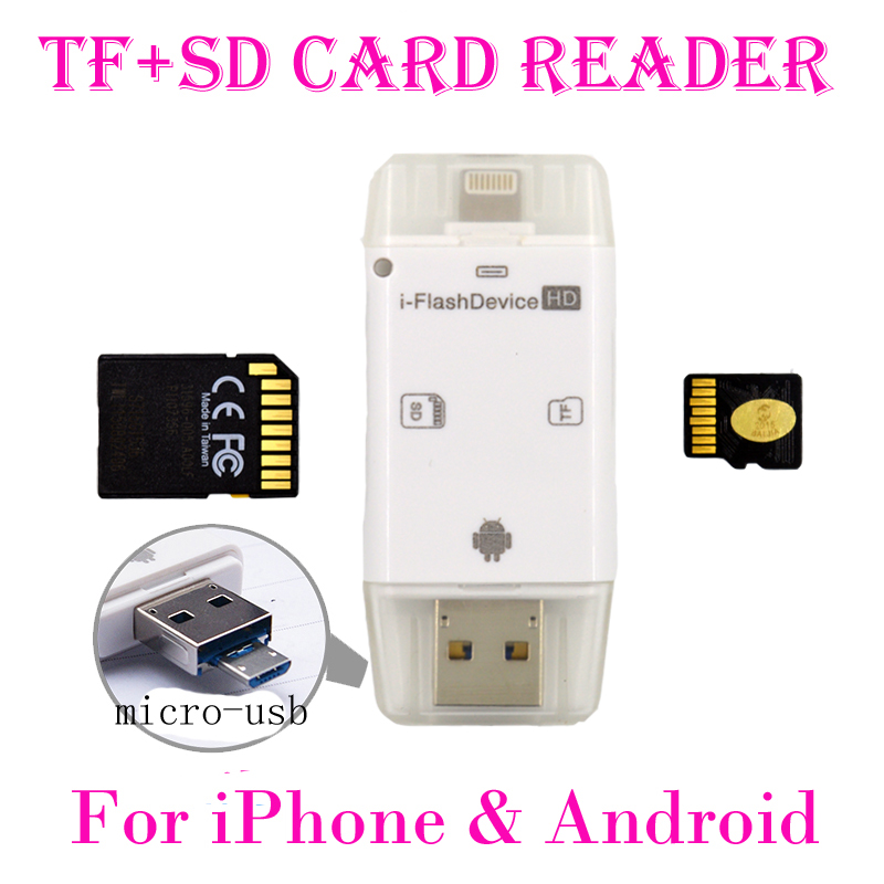 Гаджет  Newest! 3 in 1 iFlash Drive USB Micro SD SDHC TF Card Reader Writer for iPhone 5/5s/6/6 plus/ipad/itouch /All Android Cellphones None Бытовая электроника