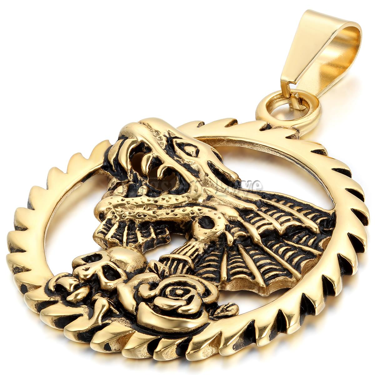 New Vintage Stainless Steel Necklaces Men Dragon Rose Skull Pendant Necklace 22 inch Chain Black Gold Design Fashion collar(China (Mainland))