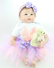 22″ Soft Vinyl Reborn Baby Cute Beautiful Doll Toy Moveable Body Fashion Toys High Quality Girls Best Gift Figure brinquedo