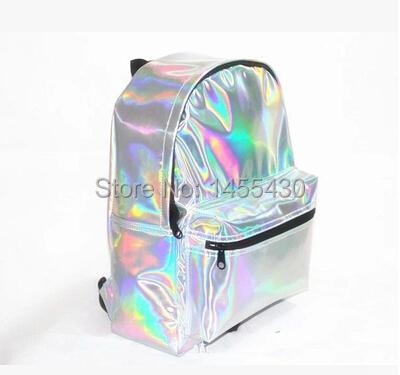2015 New Popular Hologram Backpack Super Quality Women's Laser Silver Shoulder Bag School Student Holographic Backpack(China (Mainland))