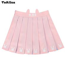 Buy Cartoon Lolita Girls D.VA Pink pleated skirt Mini Skirt Cute Rabbit Embroidery School Girls Uniform Skirt classical for $20.92 in AliExpress store