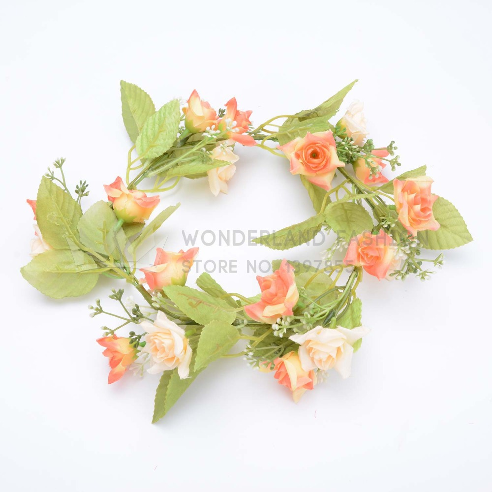 Polyester Vivid Rose Flower Floral Branch & Leaf Garland Summer Collection Hair Accessories for Women Ladies Girls Children Kids(China (Mainland))