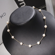 2014 Rigant New Fashion Sweety Handmade Pearl Necklace Trendy 18K Gold Women Pearl Necklace,RAN034 Free Shipping(China (Mainland))