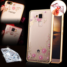 Rhinestone Flowers Soft Case Huawei P8 P7 P9 LITE G8 / Honor 6 7 7i 4A 4C 5C 4X 5X Mate 8 NEW Clear Silicon Cover Cases - Hots store