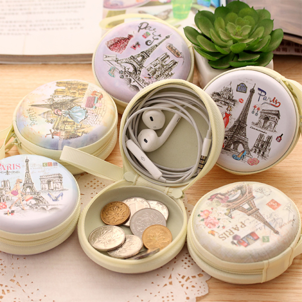 Portable Multi Functional Round Iron Tin Small Storage Boxes Bins Jewelry Coin Earphone Box Zipper Bag Candy Pill Case Organizer(China (Mainland))