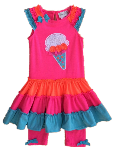 Free Shipping 4sets/lot Rare Editions(Emily Rose) 2-5yrs Little Girls Cotton Tutu Dress with Icecream Appilique and Legging Set<br><br>Aliexpress