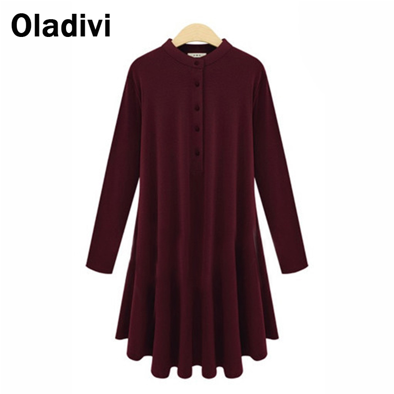 5XL Plus Size Long Blouse Short Dress 2015 Autumn New Women Clothing Casual Female Shirts Solid Color Tops Black Khaki Wine Red(China (Mainland))