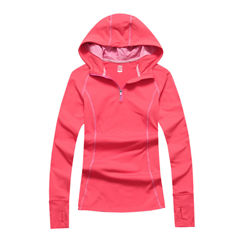 Free Shipping Authentic Women Elastic Pink Thermal Long sleeve Running Jacket Lady Windproof Hooded Hiking Camping Fleece S30<br><br>Aliexpress