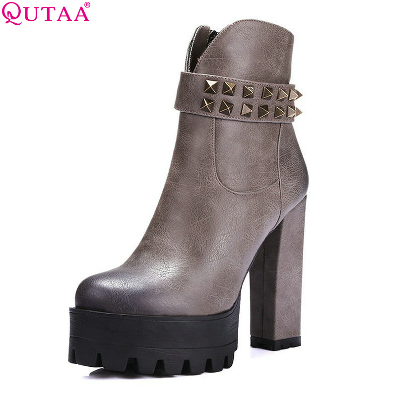 QUTAA NEW Ladies Fashion Snow Boots Square High Heels Platform Shoes Rivet Size 34-39 - Official Store store