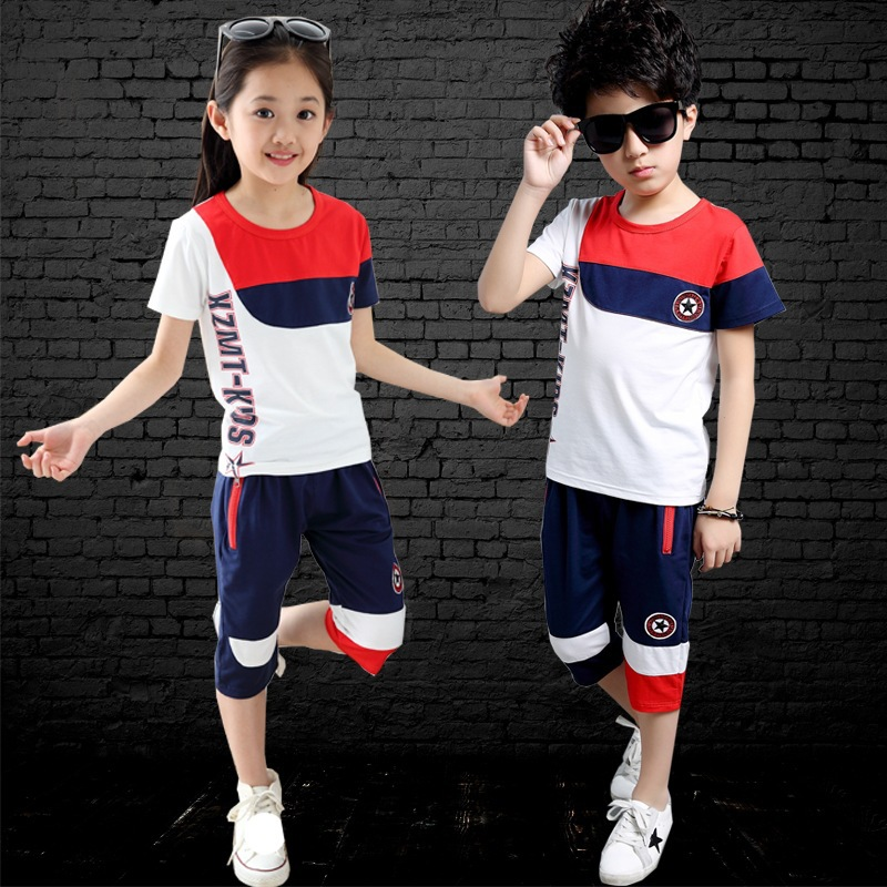 2015 new high quality baby girl boy sports suits summer style china cheap clothing and child boy korea sets hot A712(China (Mainland))