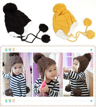 5 colors New Arrival Children Baby Knitted Hats Winter crochet Hat with villi inner Kids Earflap Cap 18006  31