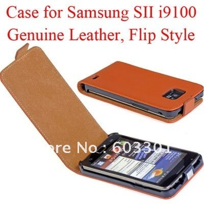 Geguine leather case for samsung galaxy SII i9100,for galaxy s2 i9100 case cover protector, accept mix color
