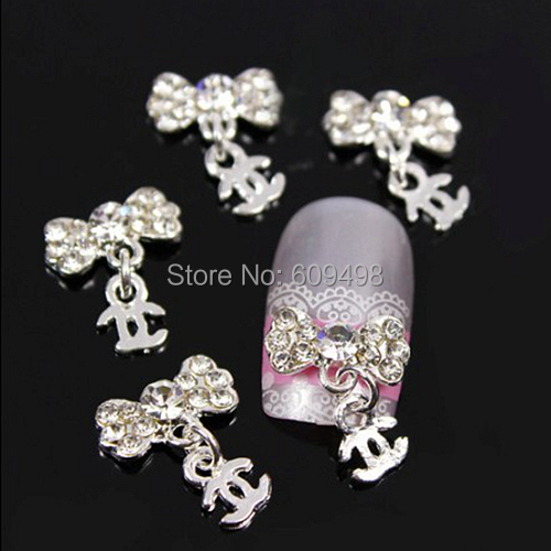 C71-1 50pcs/lot Rhinestoen Shiny alloy Logo nail art chain pendant nail jewelry Charm metal stud decoration adornment DIY(China (Mainland))