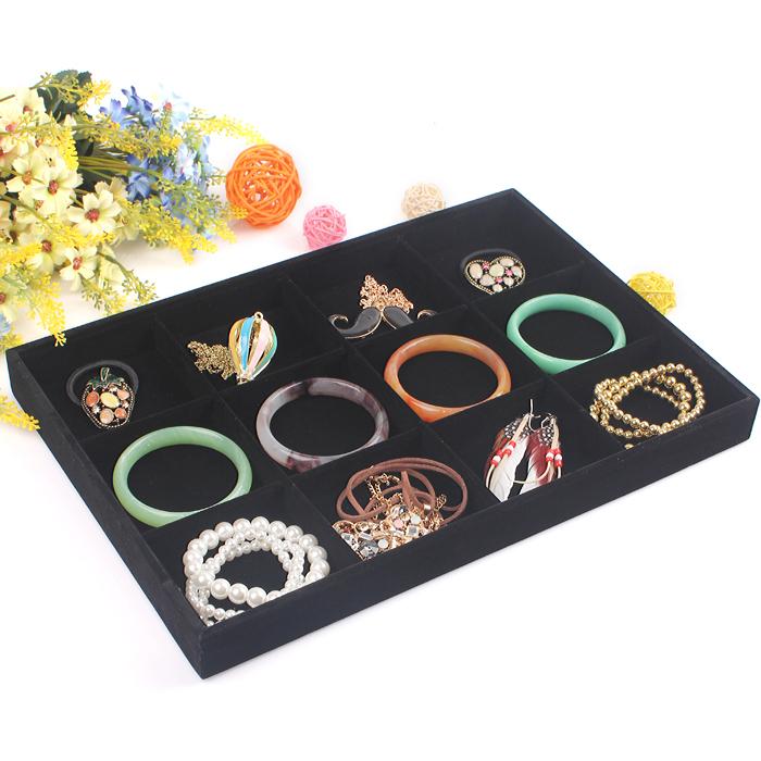 2015 New style Jewelry Display Case High-grade fabrics jewelry show box 12 all velvet display tray size 35*24*3cm(China (Mainland))