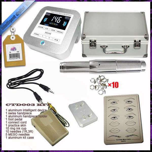 Swiss motor rotary hand piece micro needle aluminum intelligent digital eyebrow lip tattoo permanent makeup machine kit device(China (Mainland))