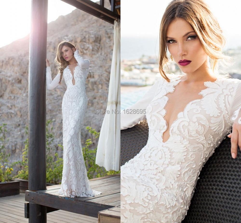 Wedding Dress 2014 Julie Vino Mermaid Dresses Deep V Neck vestido de noiva Long Sleeve Floor Length - Customize & Event store
