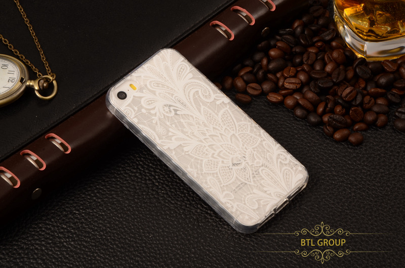 For Apple iPhone 5SE SE 5 5S Soft Clear TPU Cell Phone Case Anti-skip Shockproof Back White Flower Painting Protector Cover Skin