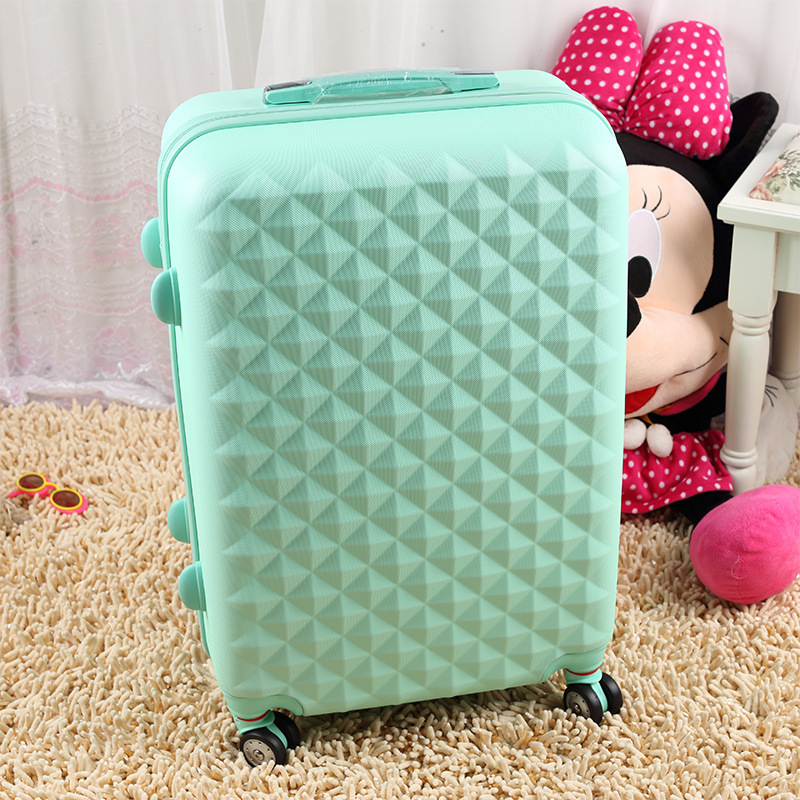Wholesale&Hotsale!14 20 22 24 26 28pink green hot pink abs pc female and male universal wheel travel luggage bags sets,cheap(China (Mainland))
