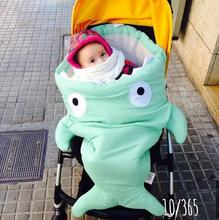 Hot 6 colors baby sleeping shark Bites Baby bag 100% cotton thickened autumn winter spring warm and comfortable cold resistance(China (Mainland))