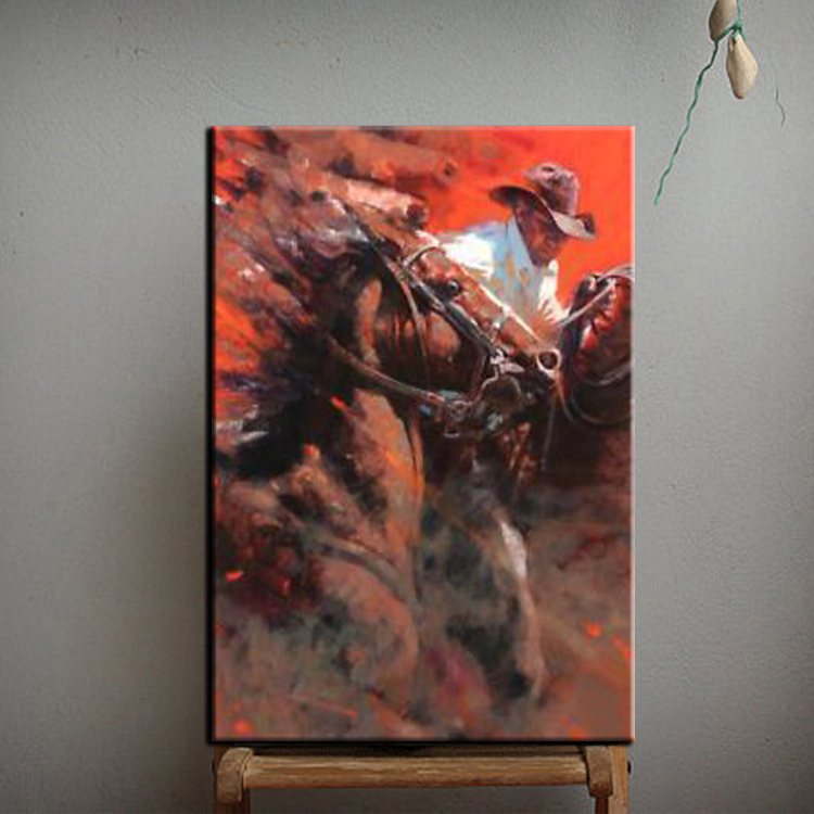 Online buy wholesale cowboy oil painting from china cowboy for Buy mural paintings online