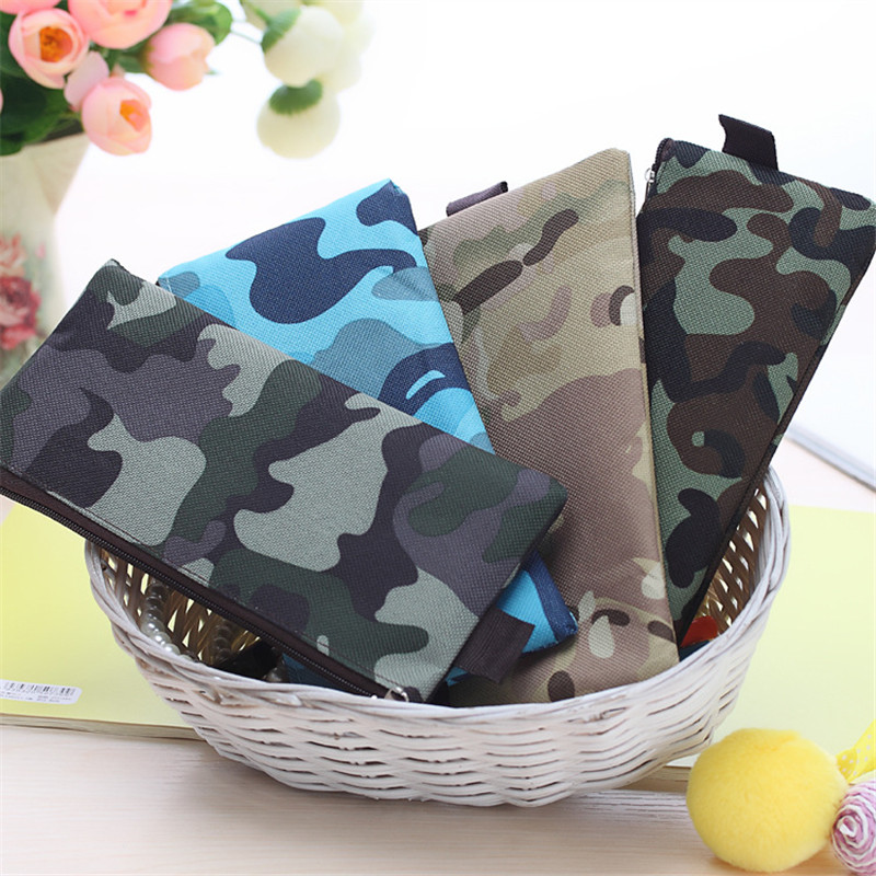 Hot Sale Boys and Girls Camouflage Pencil Case Canvas Pencil Box School Supplies Cosmetic Makeup Bag Zipper Pouch Purse W2.63(China (Mainland))