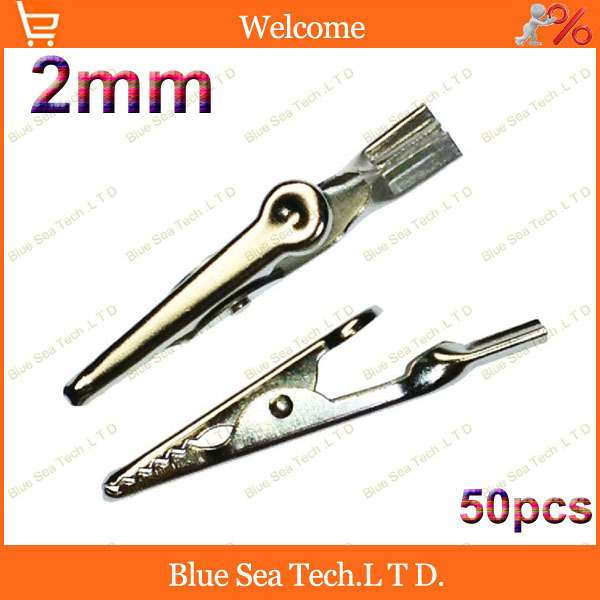 50pcs Alligator Clip with 2mm jack for test pin,Telephone Prod Clip,50mm Alligator Cable Clip,10A Free Shipping(China (Mainland))