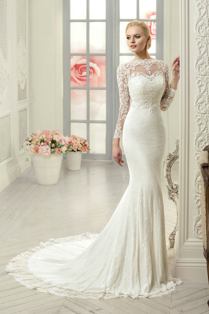Vestido de noiva sexy mermaid wedding dress long sleeve for Long sleeve white lace wedding dress