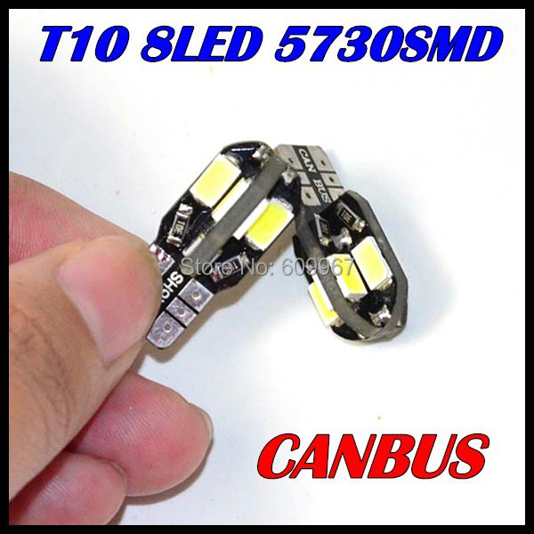 Wholesale 50pcs/Lot Canbus T10 8smd 5730 5630 LED car Light Canbus W5W 194  SMD Error Free White Light Bulbs<br><br>Aliexpress