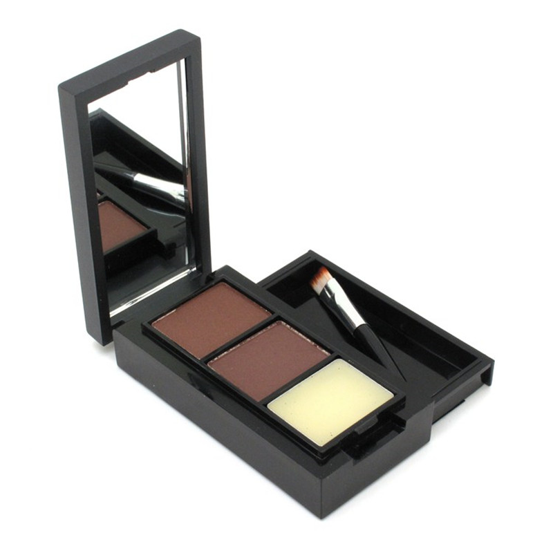Hot Sale Professional Eye Shadow Eye Brow Makeup 2 Color Eyebrow Powder + Eyebrow Wax Palette + Brush + English Instruction