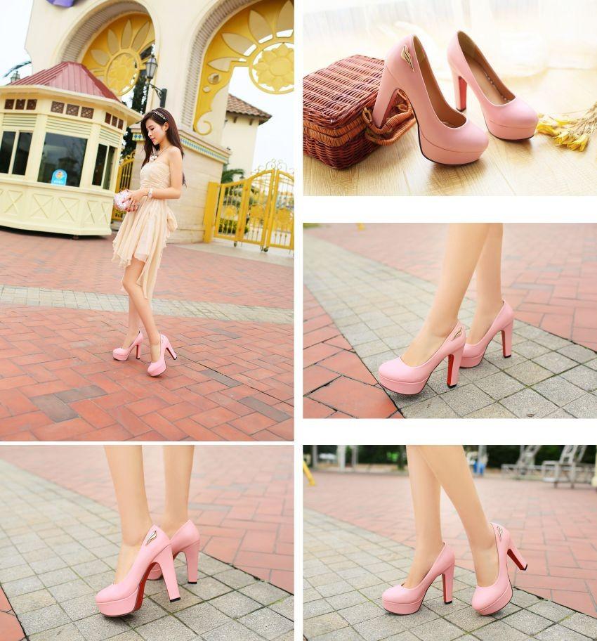 ซื้อ แบรนด์ใหม่ขายหวานผู้หญิงแพลตฟอร์มปั๊มสีดำสีชมพูผู้หญิงApricotรองเท้าเปลือยซูเปอร์สูงส้นเข็มAQB-7พลัสขนาดใหญ่43