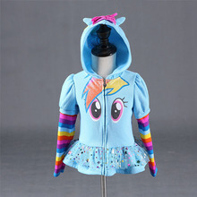 New 2016 Girls little pony Kids Jacket Children's my Coat Cute Girls Coat &Hoodies & Girls Jacket Children Clothing Cartoon(China (Mainland))
