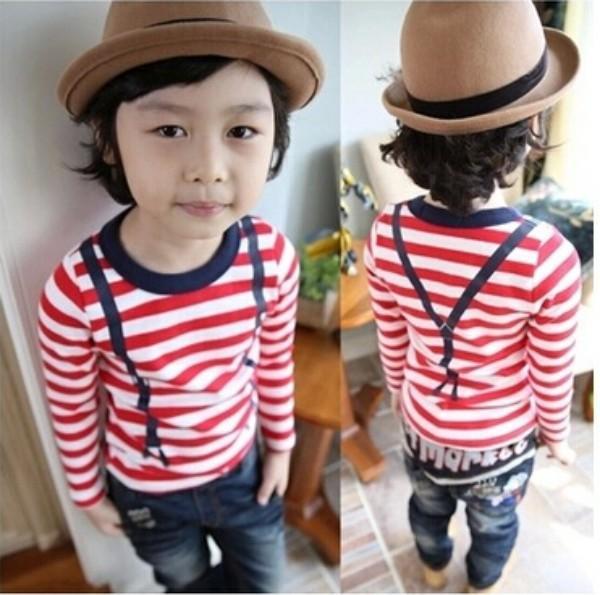 Childrens T-Shirts Boys Winter Clothes Baby Boy Plush Tops Children stripe Shirts Kids Clothing WD1404<br><br>Aliexpress