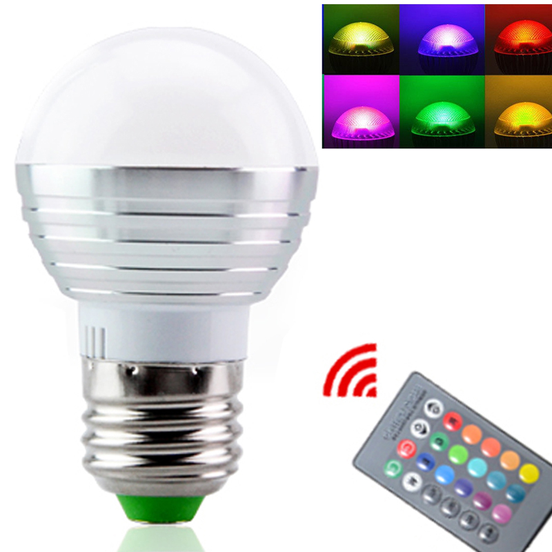AC85V-265V 3W E27 E14 Color Change LED RGB Magic Light Dimmable Lampada Bulb Spot lamp lighting+24 key IR Remote Controller(China (Mainland))