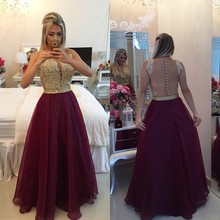2016 Vestidos De Fiesta Sexy Back See Through Evening Dresses Burgundy Organza Gold Appliques Crystals Lady Party Prom Gown BA71(China (Mainland))