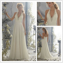 Sexy Backless Long Halter Wedding Dresses Chiffon Beaded Bridal Gowns 2015 New Arrived Robe De Mariage Vintage Vestidos De Novia(China (Mainland))