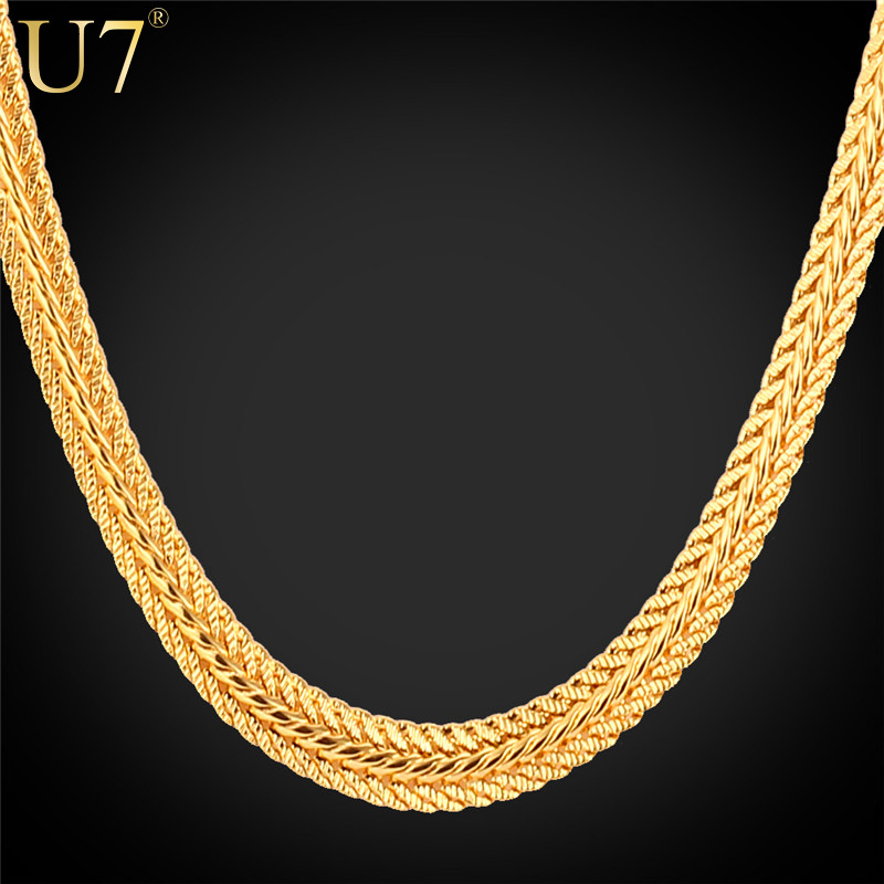 """Gold Necklace With """"18K"""" Stamp New Trendy 18K Real Gold Plated 6MM 18/22/26 Inches Unique Snake Chain Necklaces Men Jewelry N363(China (Mainland))"""
