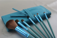 7pcs/set Portable Makeup Brush Set Kit Fashion Lady Face Comestic Brushes make up tool with blue PU bag free shipping