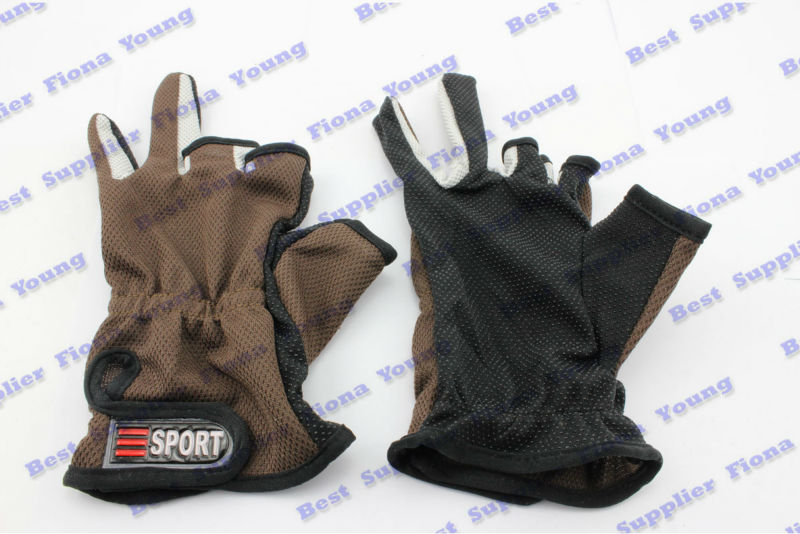 5 pairs/lot Brown Fishing Tackle Sport 3 Low Cut Fingers Anti Non Slip Fish Fishing Gloves Glove Angling Free Shipping(China (Mainland))