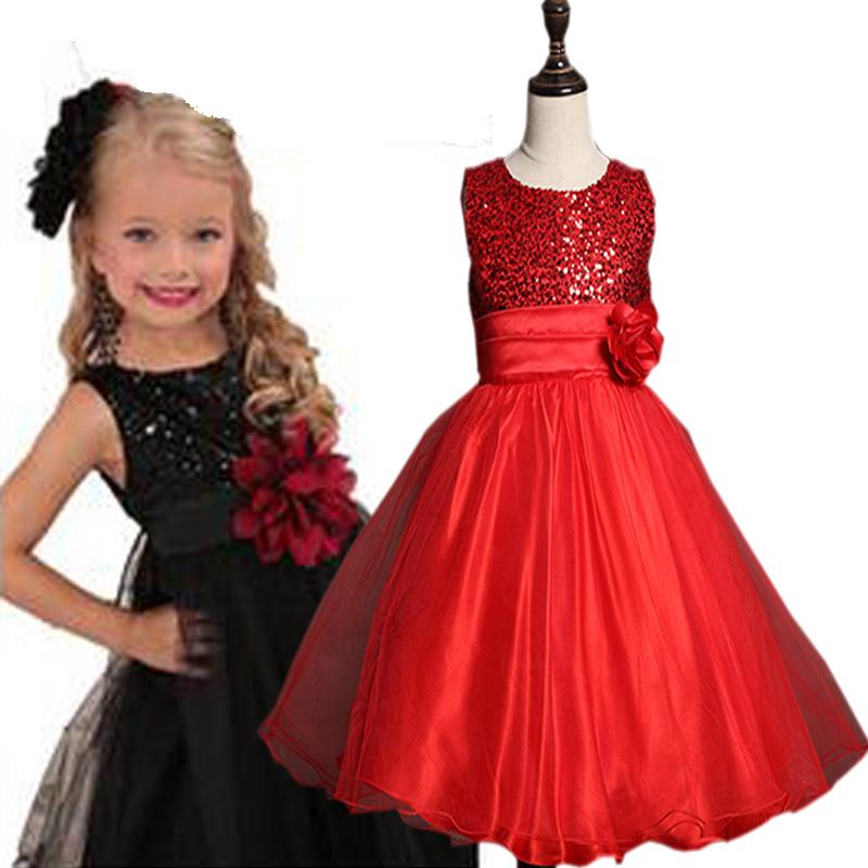 2016 summer girls rose dress princess kids wedding dresses sequins