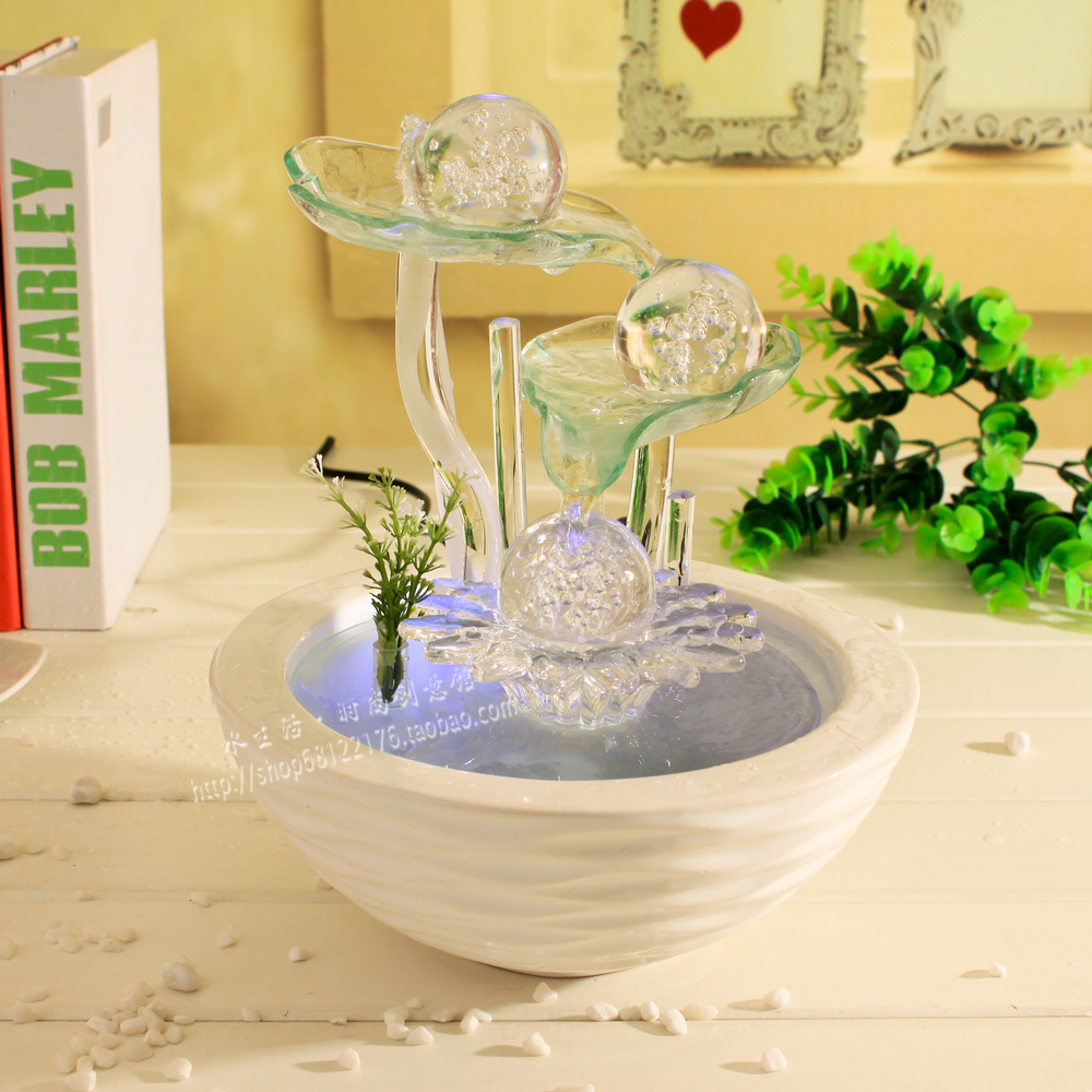 Water fountain bonsai decoration lucky feng shui wheel water features home gift humidifier