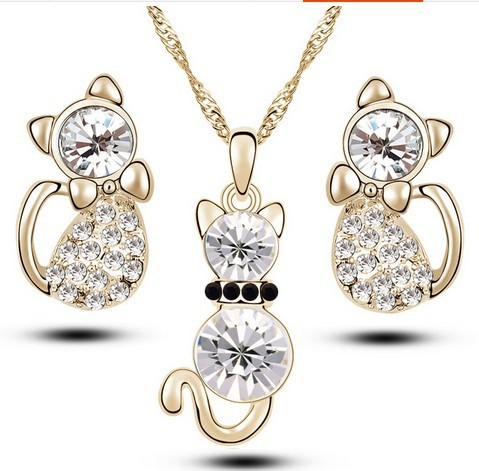 Little Cat Rhinestone Jewelry Set