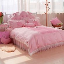 high quality cotton lace Korea design King/Queen Size wedding Bedding Set 7pcs Duvet/ Comforter Cover Bed Sheet Set purple gift(China (Mainland))