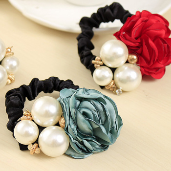 Ribbon Flowers & Pearls Hair Band